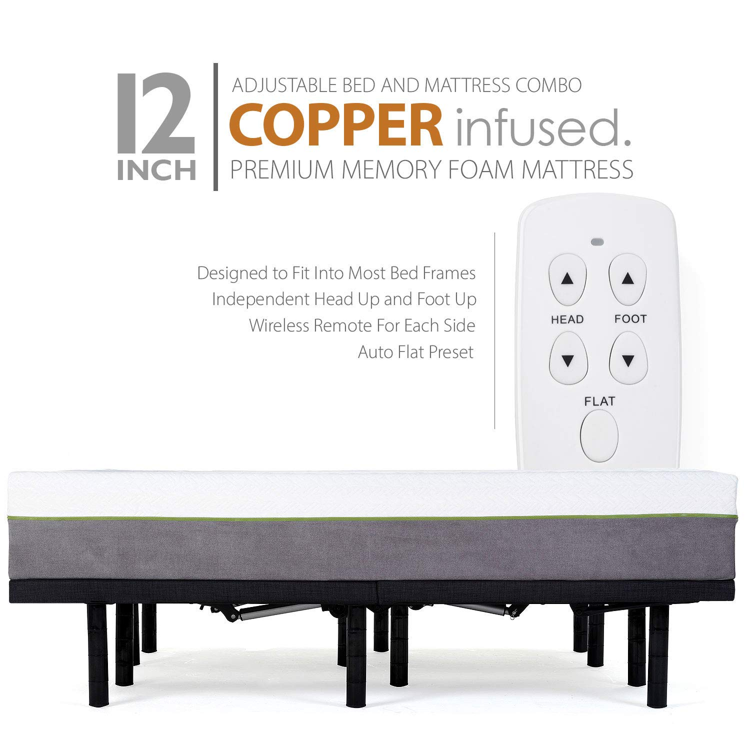 Adjustable Bed Frame and 12 Inch Copper Infused Cool Memory Foam Mattress Medium Firm Feel CertiPUR-US Certified Queen