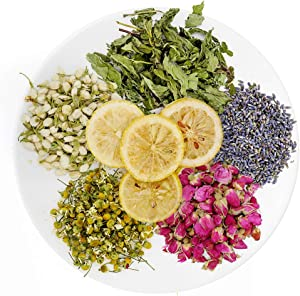 TAEERY Dried Flowers for Soap Making Scents Kits,DIY Soap Supplies,Candle Making,Includes Lavender,Rose,Jasmine,Chrysanthemum,Lemon,Mint Set-Food Grade Bulk Dried Flowers Herbs Kit for Bath Bombs