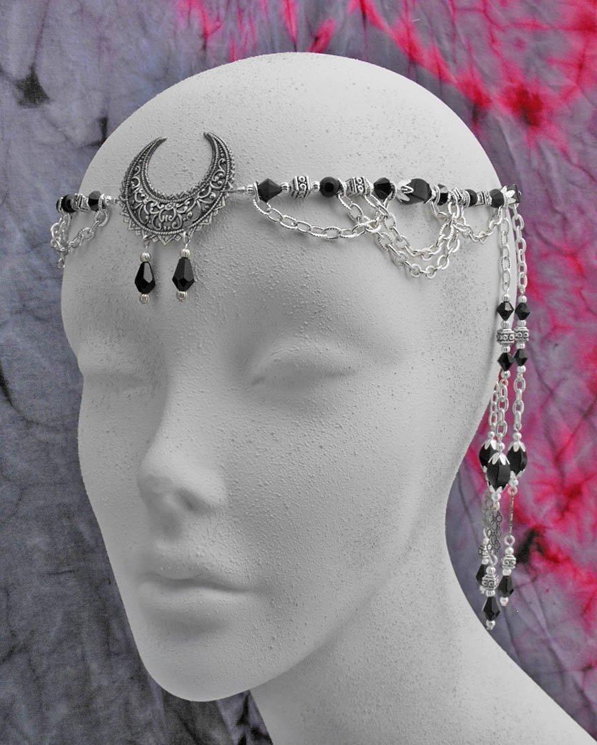 OOAK One of a Kind Black Onyx & Crystal Lunar Moon Goddess priestess CIRCLET diadem