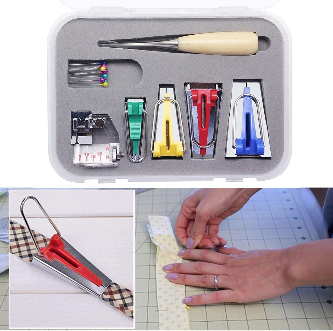 ONTODEX Sewing Machine Tools Multifunction Sewing Bias Tape Maker Set Quilting Patchwork Tools DIY Patchwork Craft Making Tool
