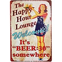 """Welcome,The Happy Hour Lounge Metal Tin Sign, Wall Decorative Sign, Size 8"""" X 12"""""""
