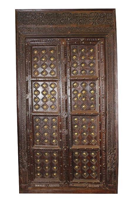 Mogul Interior Antique Indian Haveli Door Dark Brown Brass Medallion Teak  Wood Original Solid Wooden Beautifully - Amazon.com: Mogul Interior Antique Indian Haveli Door Dark Brown