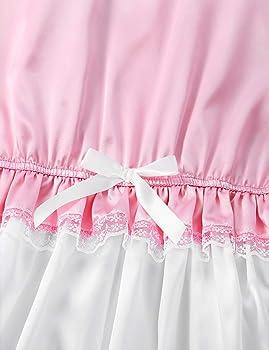 Men Sissy Silky Satin Short Puff Sleeve Trimmed Lace Romper CrossDresser Costume