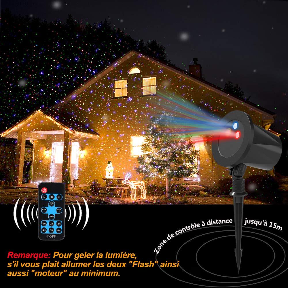 Projecteur de Lumi/ère de Ciel Etoile avec T/él/écommande RF Projecteur F/ête Etanche Projecteur Ext/érieur LED Lumi/ère de No/ël Etoil/é Innoo Tech Rouge Vert Bleu Projecteur dAmbiance Etanche IP65