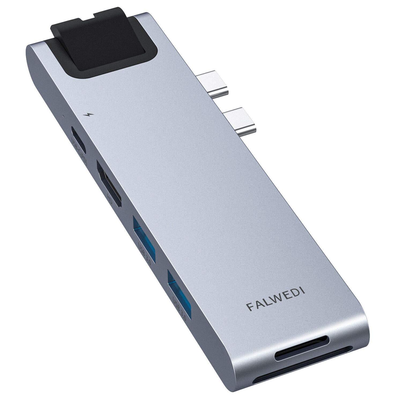 USB C Hub, MacBook Pro Adapter, Falwedi 7-in-2 USB-C Hub with Thunderbolt 3 5K@60Hz 100W PD, Ethernet Port, 4K@30Hz HDMI, 2xUSB 3.0 Ports, SD/TF Card Reader for MacBook Air 2018 and MacBook Pro by FALWEDI