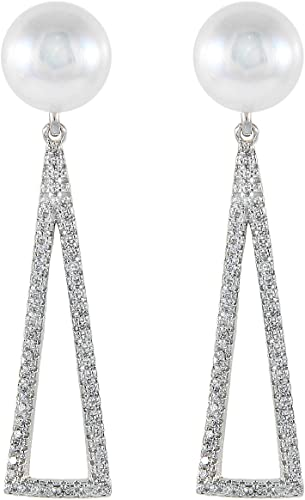 925 Sterling SIlver Earrings 8.5-9mm Button Handpicked AA Quality Cultured Freshwater Pearls CZ Accent