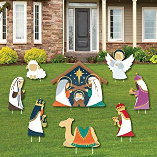 product image for Big Dot of Happiness Holy Nativity - Yard Sign and Outdoor Lawn Decorations - Manger Scene Religious Christmas Signs - Set of 8
