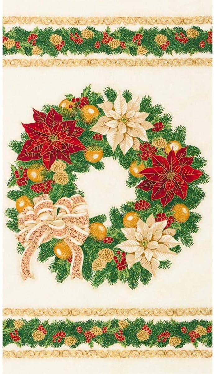 Robert Kaufman Fabrics Holiday Flourish Poinsettia Wreath Panel Holiday