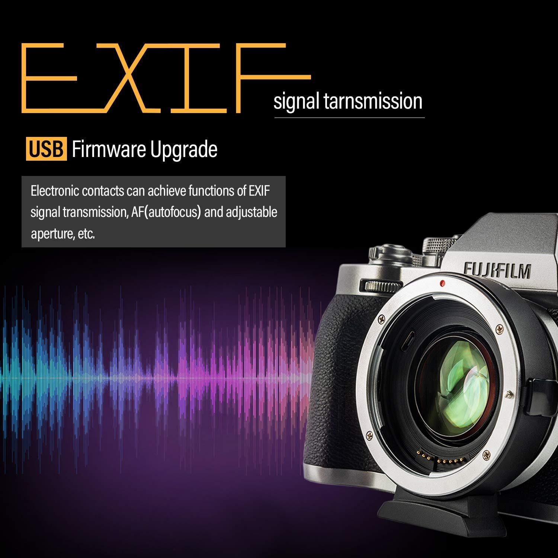 Viltrox Adaptateur de Monture dobjectif /à Focale Automatique 0,71x Speed-booster Convertisseur pour Objectif Canon EF aux Appareils Photo sans Miroir Fuji X-Mount X-T100//X-PRO2//X-E3//X-A20//X-A10