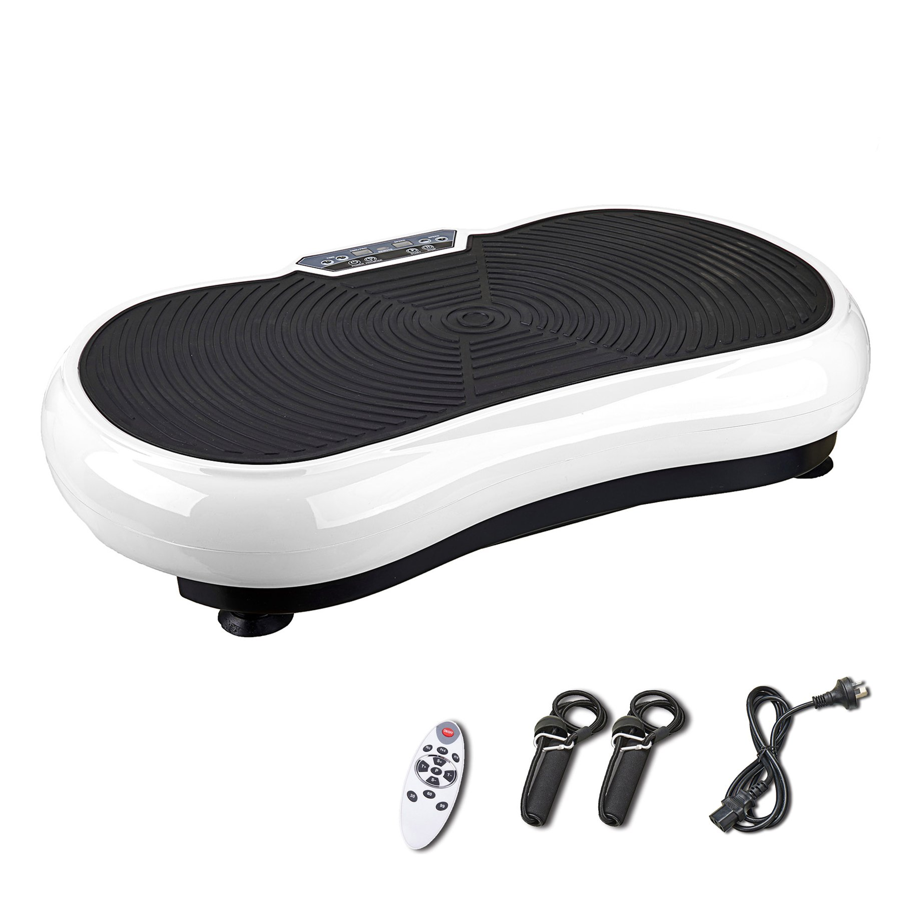 Pinty Fitness Vibration Platform - Whole Body Vibration Machine Crazy Fit Vibration Plate with Remote Control & Resistance Bands (White) by Pinty (Image #1)