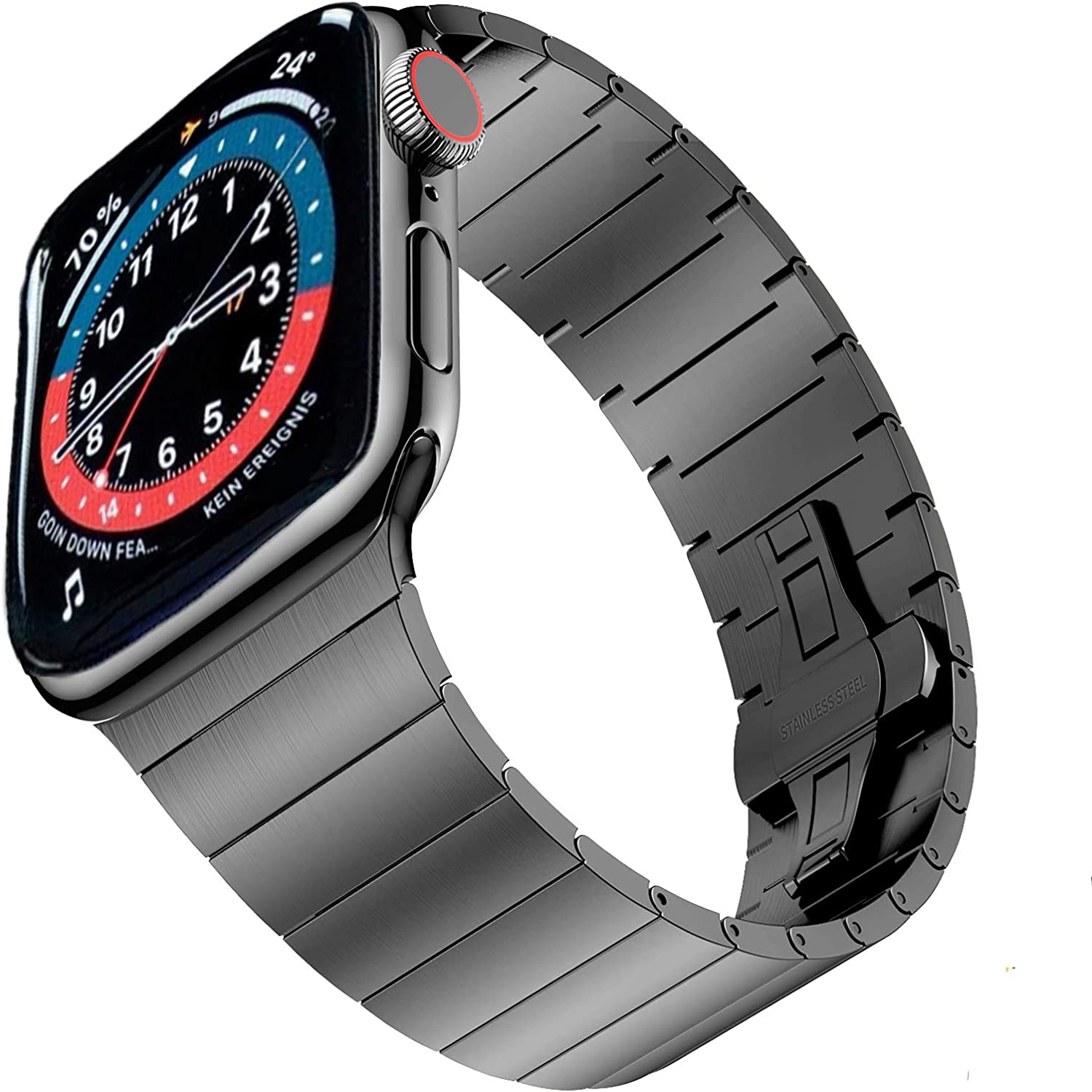 Hallsen Upgraded Metal Bands Compatible with Apple Watch Band 44mm/40mm Series 6/5/4/SE Series 3/2/1 42mm/38mm, Solid Stainless Steel Sport Replacement Strap for iWatch Band Men Women