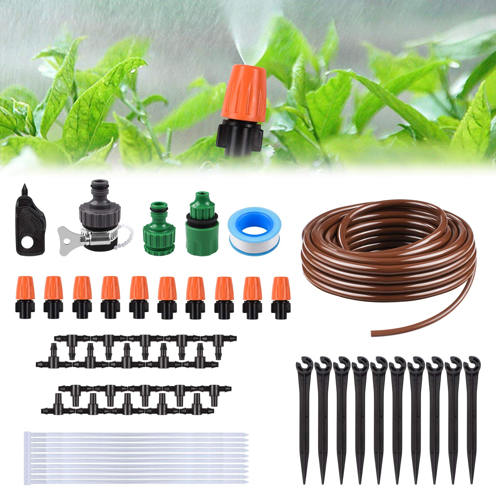 KORAM Drip Irrigation Kits, 1/4-inch Blank Distribution Tubing Garden Irrigation System DIY Saving Water Irrigation Equipment Set with 10 Mist Nozzles Suit for Garden Greenhouse, Flower Bed, Patio
