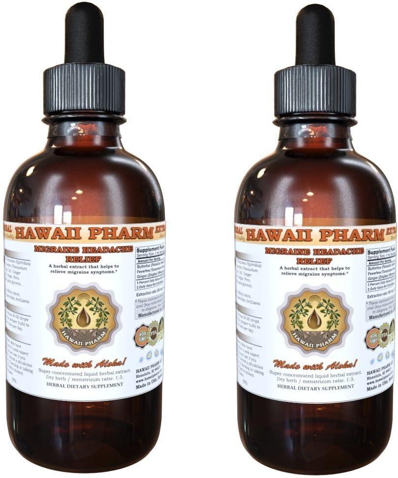 Migraine Headache Relief Liquid Extract Herbal Dietary Supplement 2×4 oz