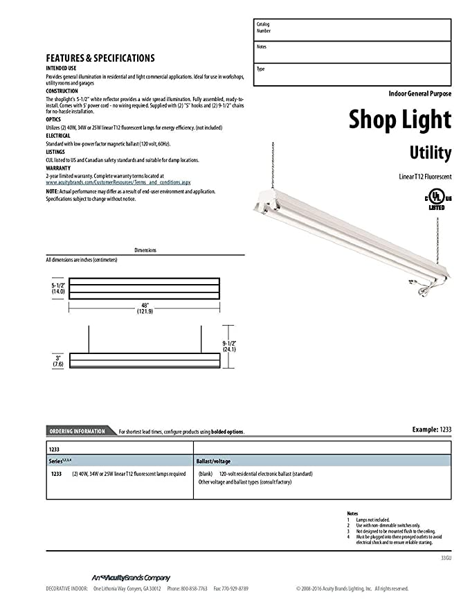 lithonia lighting 1233 re 2 light t8 fluorescent residential shop led light fixture wiring diagram lithonia lighting 1233 re 2 light t8 fluorescent residential shop light, white amazon com