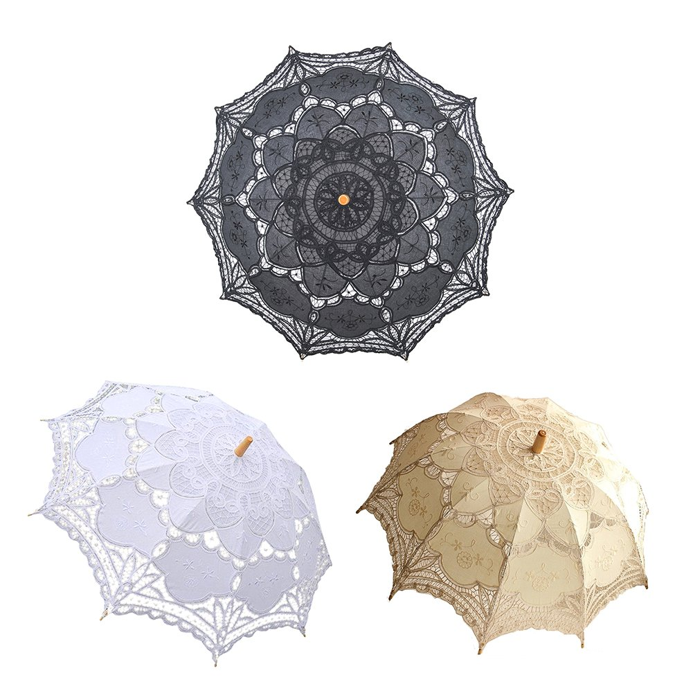 Lace Embroidery Wedding Umbrella Wooden Handle for Wedding Decoration(W) by Johlycao (Image #6)