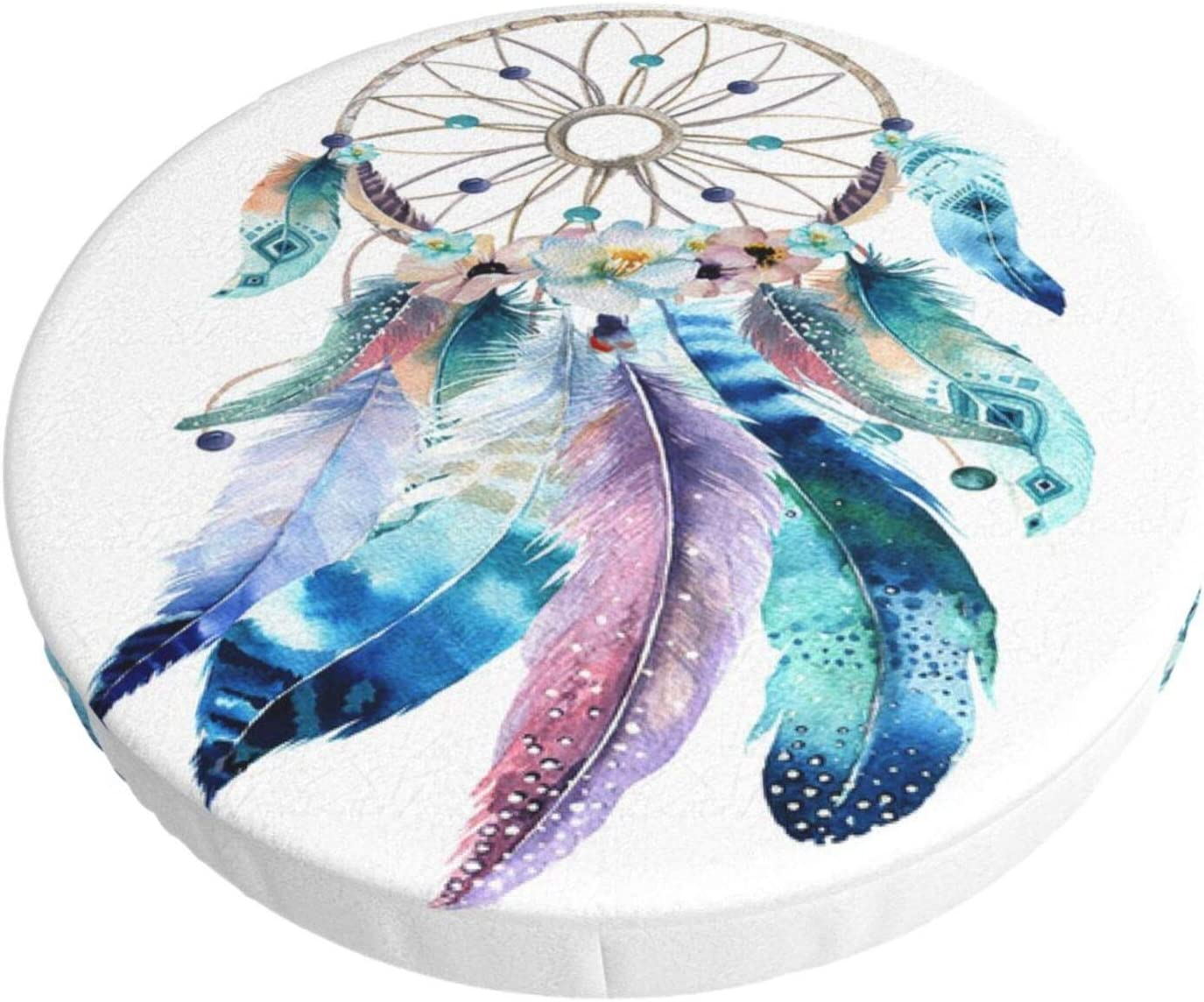 Round Bar Stool Cushions Covers Etnic Bohemian Dreamcatcher Boho Feathers Non Slip Round Seat Cover Protector Stretch Barstools Velvet Slipcover for Backless Adjustable Height Chair with Wheels