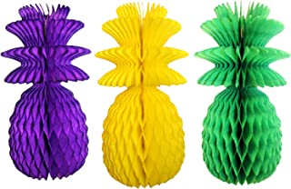 product image for Large Solid Colored 13 Inch Honeycomb Pineapple Party Decoration Kit (Mardi Gras - Purple, Yellow, Green)