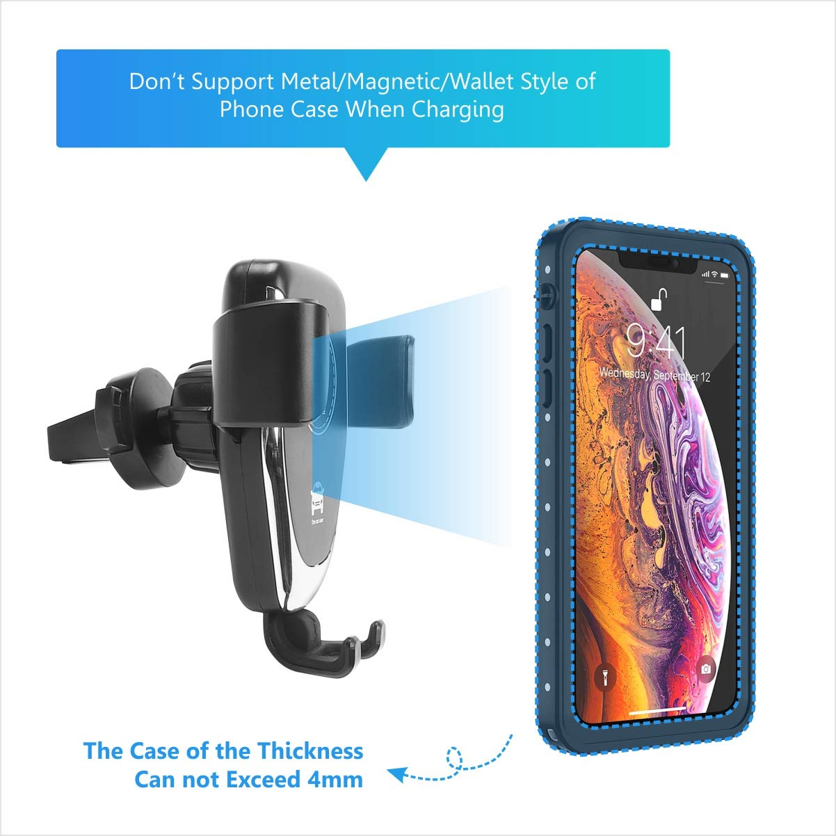 10W Fast Wireless Charger Car Charger Mount Car Air Vent /& Dashboard Universal Phone Holder Clamping/Wireless/Car/Charger Compatible with iPhone 8//8 Plus//X//XS//XR//X Wireless Car Charger