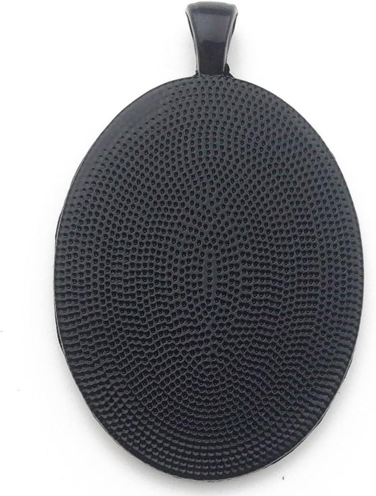 Black C6371 10pcs 30x40mm Black Oval Bezel Pendant Trays Cabochon Settings Trays Pendant Blanks