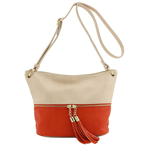 44635eda2939 Tassel Accent Bucket Crossbody Bag Blush Orange  Handbags  Amazon.com