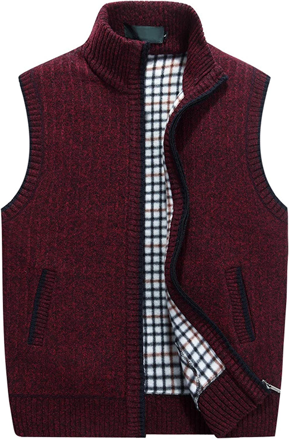 chouyatou Mens Gentle Band Collar Zipper Slim Sleeveless Cable Knitted Cardigan Vests Sweater