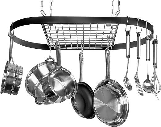 5 Hook Stainless Steel Pot Hanger Pan Holder Kitchen Tool Utensil Storage Rack