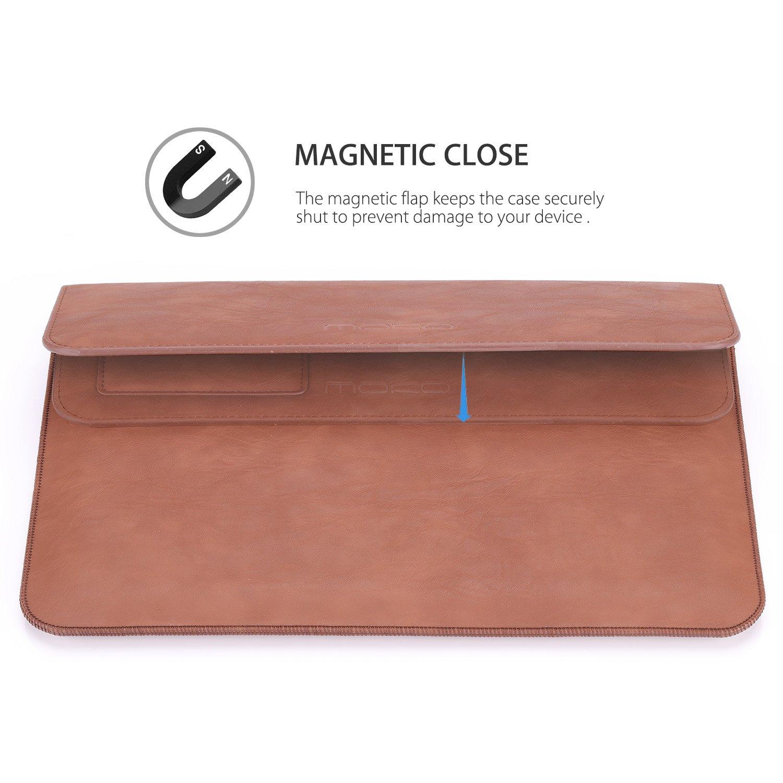 Marr/ón MoKo Funda de 13.5 Inch Sleeve Bag Bolsa de Manga Malet/ín de Cuero PC Port/átil Compatible para Surface Laptop//Surface Book 2 de 13.5 con Bolsillo y Surface Portapluma