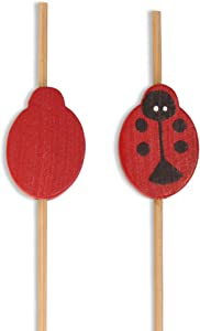 BambooMN Decorative Lady Bug Cocktail Fruit Sandwich Bamboo Picks Skewers for Catered Events, Holiday's, Restaurants or Buffets Party Supplies - 4.7