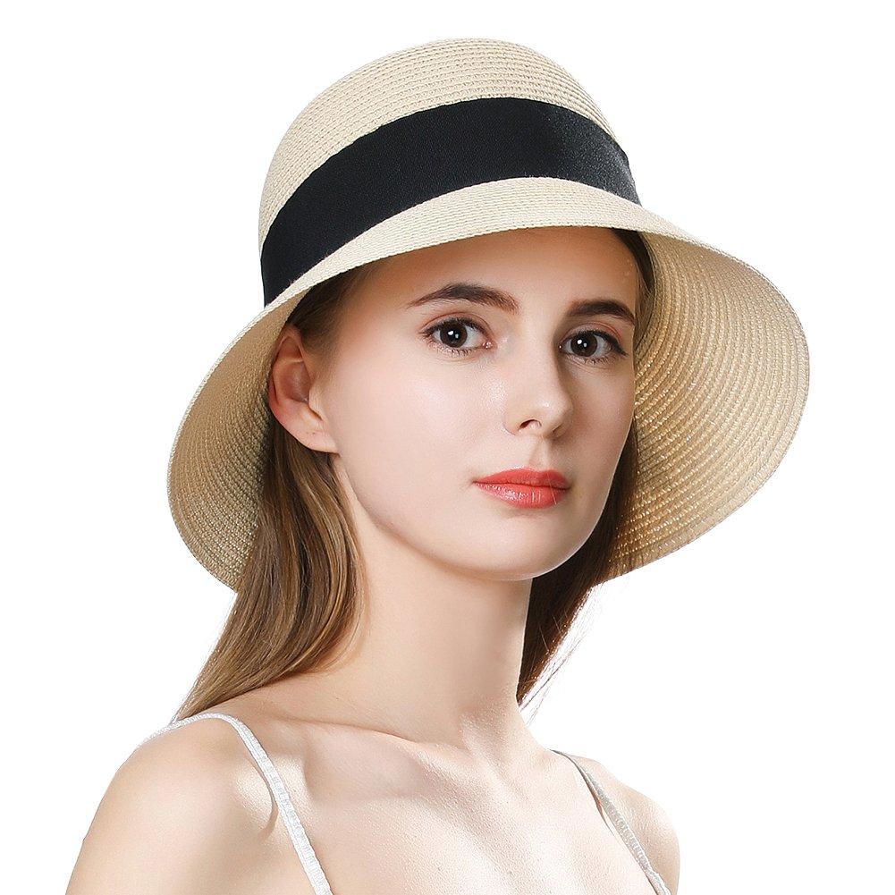 Womens Crushable Large Brim Straw Sun Hat Derby Bow Upf50 Travel Chin Strap Beige