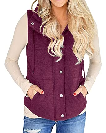 a102c8435fe0 Kathemoi Womens Casual Quilted Puffer Vest Tops Utility Zip Drawstring  Jacket Outerwear with Pockets at Amazon Women s Coats Shop