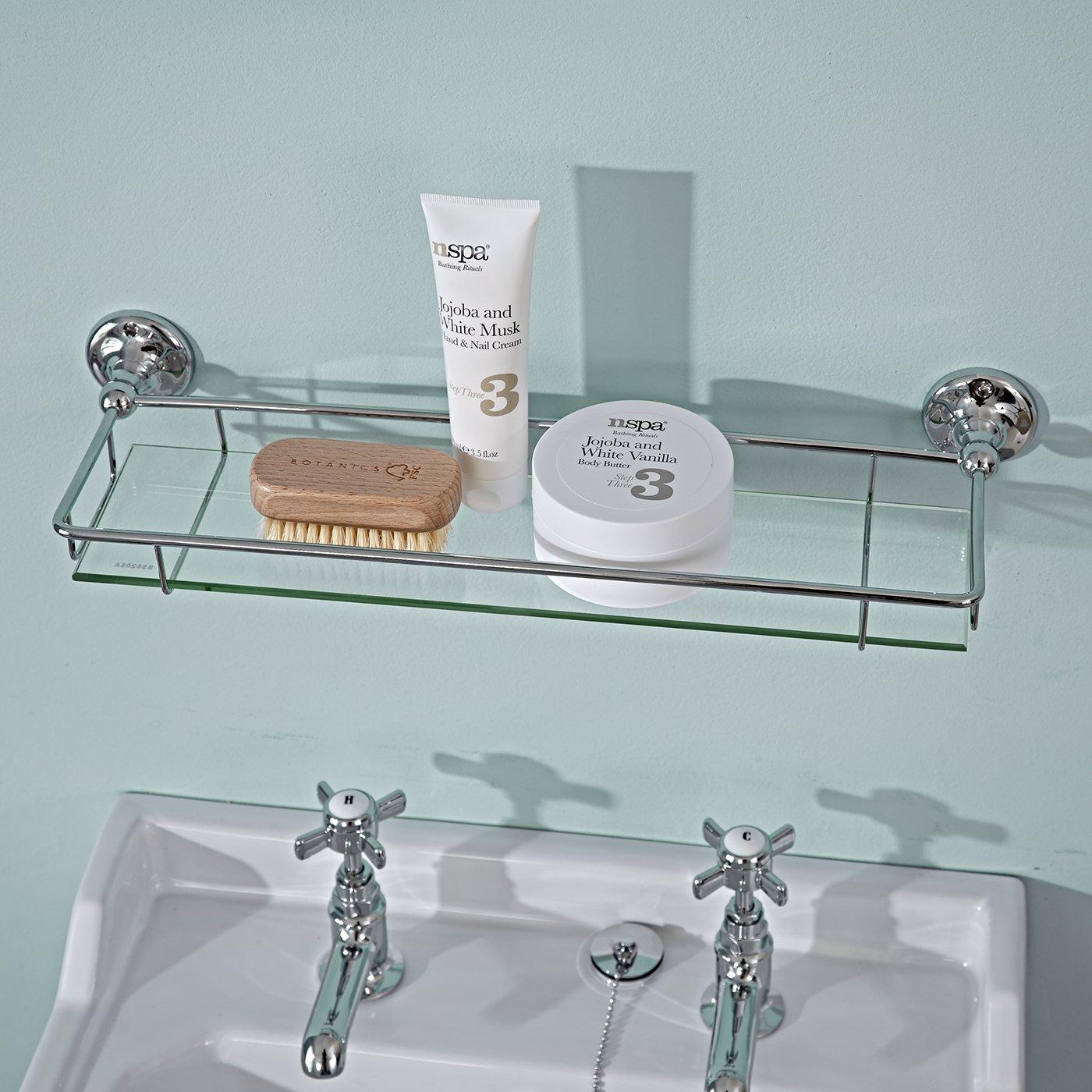 Milano Modern Thick Glass Gallery Bathroom Storage Shelf Chrome ...