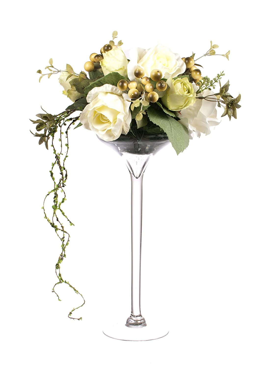 Closer2nature 55cm large rose display in tall martini glass vase closer2nature 55cm large rose display in tall martini glass vase amazon garden outdoors reviewsmspy