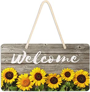 Welcome Sign Front Porch Decor - Sunflowers Wooden Front Door Decor Wall Plaque House Welcome Wood Sign Porch Decorations Home Decor Hanging Kitchen Decor
