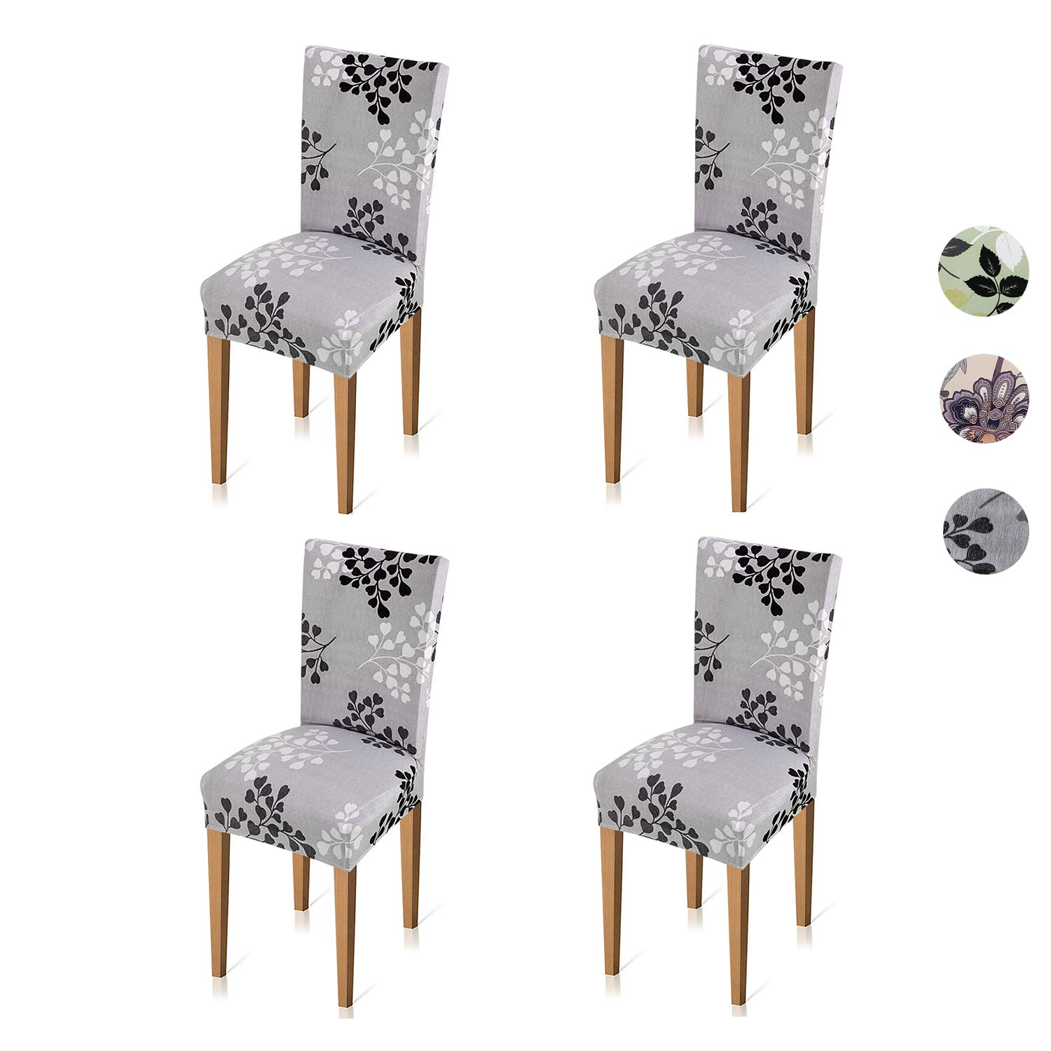 Xflyee Stretch Dining Room Chair Covers Jacquard Removable Washable Kitchen Parson Chair Slipcovers Set of 4 (A, 4 Pack)