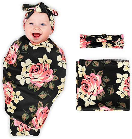 Saco de dormir para beb/é reci/én nacido 2 piezas 1 dise/ño de manta de muselina y diadema