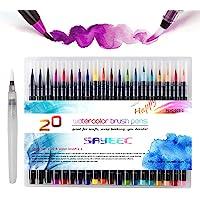 Watercolour Brush Pens Set,SAYEEC Set of 20 Watercolour Paint Brush Art Marker Pens with 1 Refillable Blending Water…