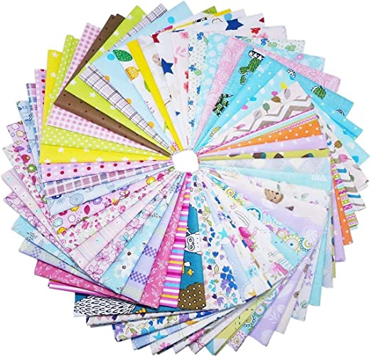 Firoya 25 unidades de tela de algodón de retazos, para manualidades, tejido cuadrado de algodón, paquete de tela para coser con varios diseños, 30 x 30 cm: Amazon.es: Hogar