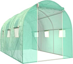 SUNCOO Greenhouse, Multi-Size Portable Greenhouses Heavy Duty, Large Walk-in Green House for Outdoors Garden, Zippered Door, Roll-Up Windows (10' X 7' X 7')