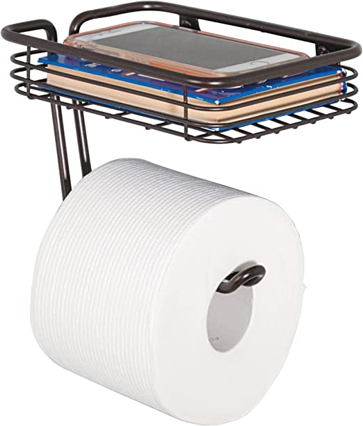 Amazon Com Idesign Classico Metal Wall Mount Toilet Paper Tissue Holder Roll Reserve With Shelf For Kids Guest Master Office Bathroom 7 25 X 5 25 X 5 25 Bronze 69151 Home Kitchen