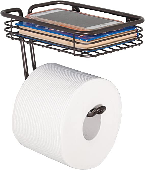 Idesign Classico Metal Wall Mount Toilet Paper Tissue Holder Roll Reserve With Shelf For Kids Guest Master Office Bathroom 7 25 X 5 25 X 5 25 Bronze 69151 Home Kitchen Amazon Com