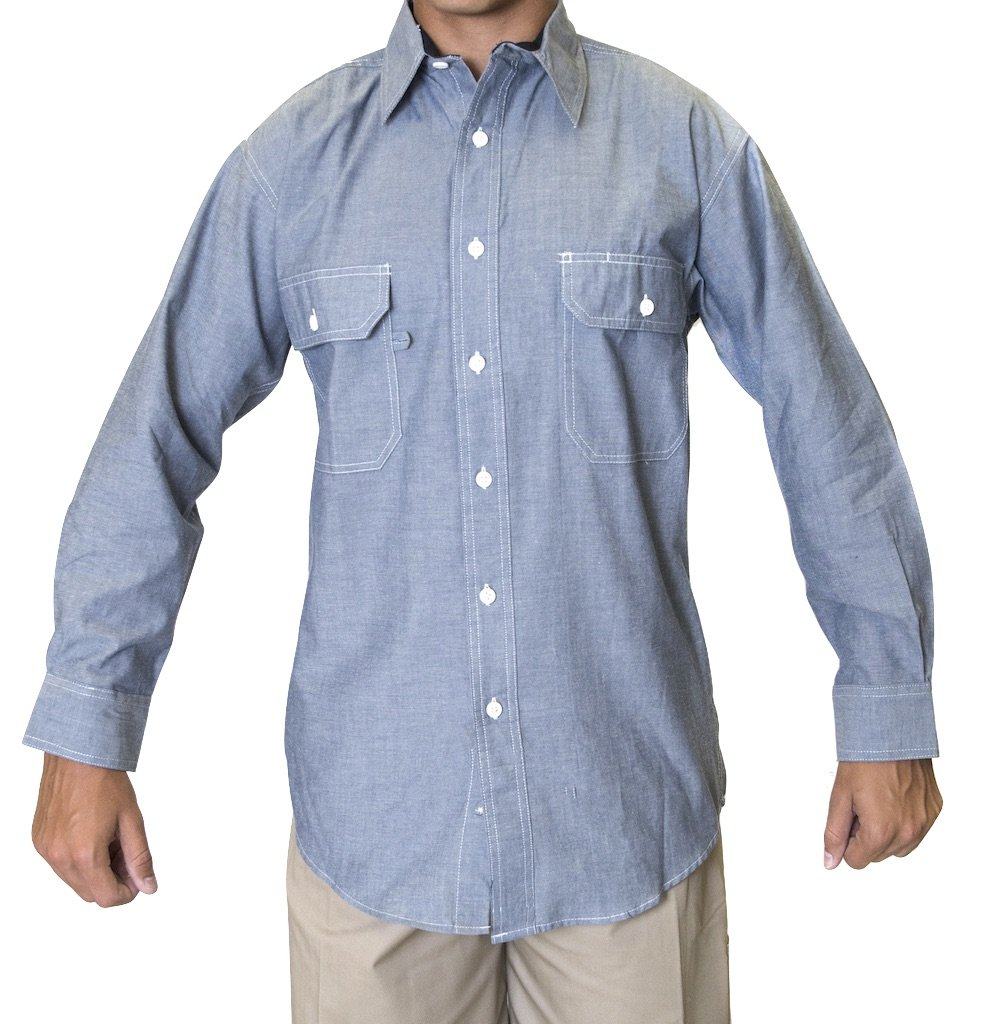 Ws Blue Collar Chambray Long Sleeve Shirt (X-Large) by Ws