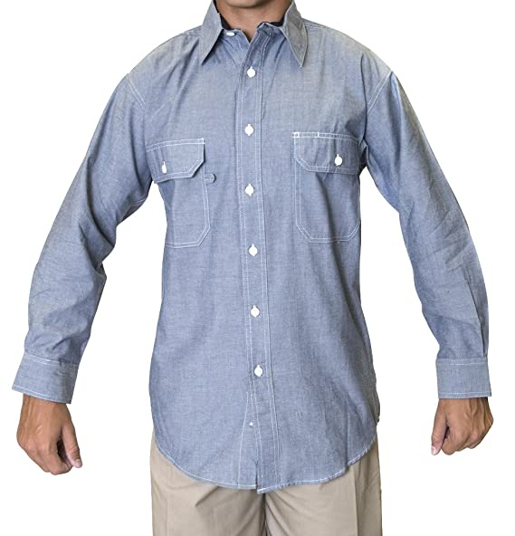 844a518d Ws Blue Collar Outlet Men's Chambray Long Sleeve Shirt, Two Front Pocket  with Mitered Flaps