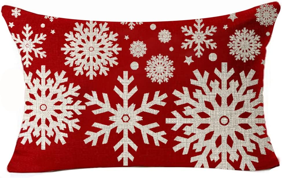 Amazon Com Andreannie Happy Holidays Beige Ivory Geometric Christmas Snowflakes In Red Cotton Linen Throw Waist Lumbar Pillow Case Cushion Cover Personalized Home Decorative Rectangle 12 X 20 Inches Home Kitchen