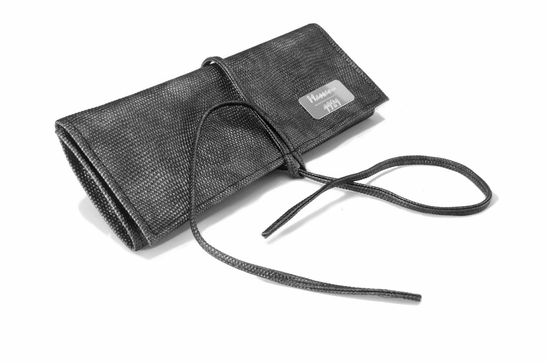 Rotolo portagioie da viaggio Massano 1981, realizzato in eco pelle bright lizard e morbido floccato, 100% Made in Italy PTGM BT LX (black Lizard)