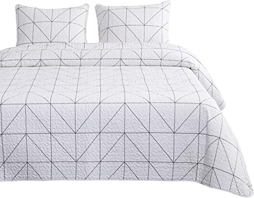 3pcs, King Size Geometric Quilt Set Wake In Cloud White Black Geometric Modern Pattern Printed 100/% Cotton Fabric with Soft Microfiber Inner Fill Bedspread Coverlet Bedding