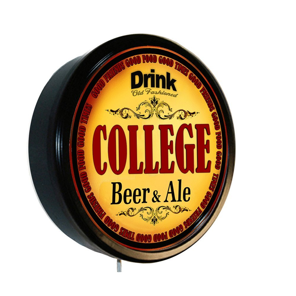 COLLEGE Beer and Ale Cerveza Lighted Wall Sign