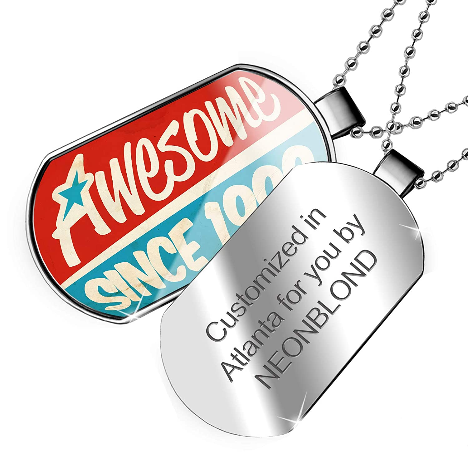 NEONBLOND Personalized Name Engraved Awesome Since 1999 Birthday//Year Dogtag Necklace