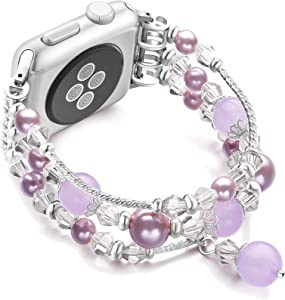 JuQBanke Compatible for Apple Watch Band 42mm 44mm, Jewelry Fashion Stretch Crystal Pearl Bracelet Replacement Womens Strap, Compatible for iWatch Series 5/4/3/2/1(Silver Purple, S/M)