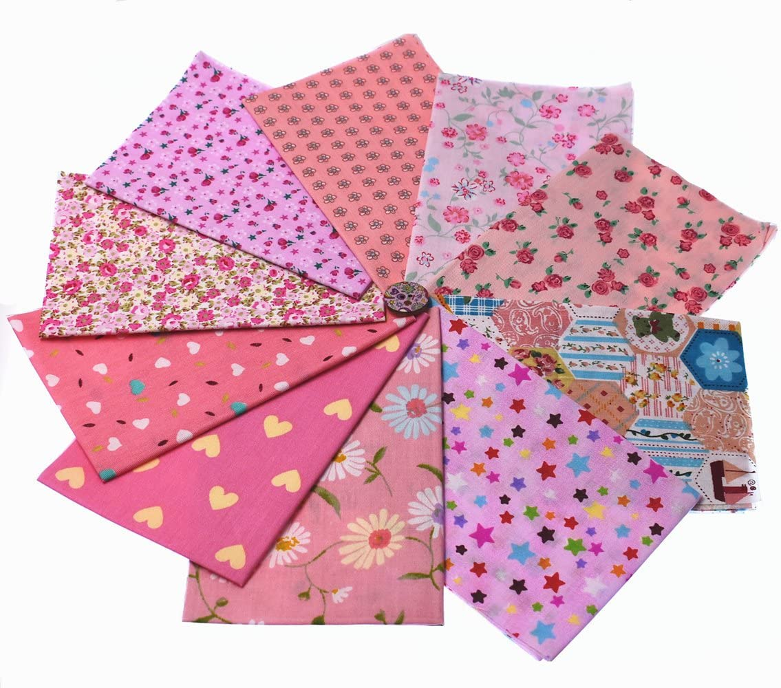 RayLineDo 10pcs 8 x 12 inches (20cmx30cm) Print Cotton Pink Series Fabric Bundle Squares Patchwork DIY Sewing Scrapbooking Quilting Pattern Artcraft