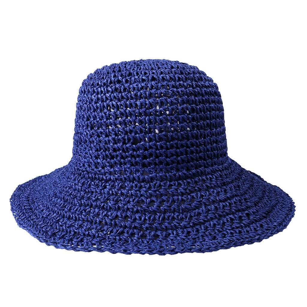 2019 New !Women's Soft Bow Handmade Foldable Rear Split Strap Hat Fisherman Farmer Spring Summer Outdoor Straw Hat (Navy)